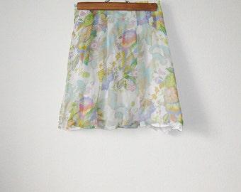 vintage 90's floral chiffon skirt. size S.