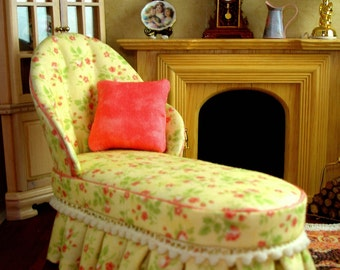 Yellow Floral Dollhouse Miniature Chaise