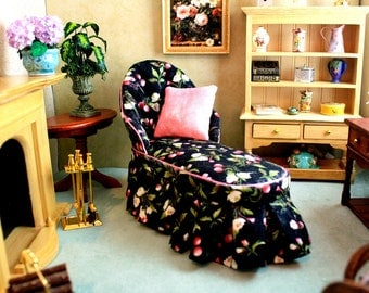 Black Floral Dollhouse Chaise