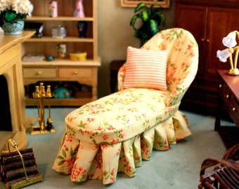 Yellow Floral Dollhouse Chaise