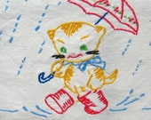 Vintage Linens - Hand-Embroidered Cotton Shelf Scarf: Happy Kitten in the Rain with Boots and Umbrella