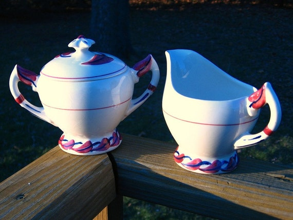 "Vernon Kilns Hand-Painted 1940s ""Monterey"" Cream and Sugar Set: California Dreaming in Maroon and Midnight blue"