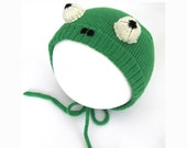 Knitted Baby Frog Hat - Handmade Baby Costume Fancy Dress.
