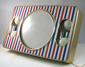 Vintage 1970s Red White and Blue Brytone Beauty Aide Mirror and Case