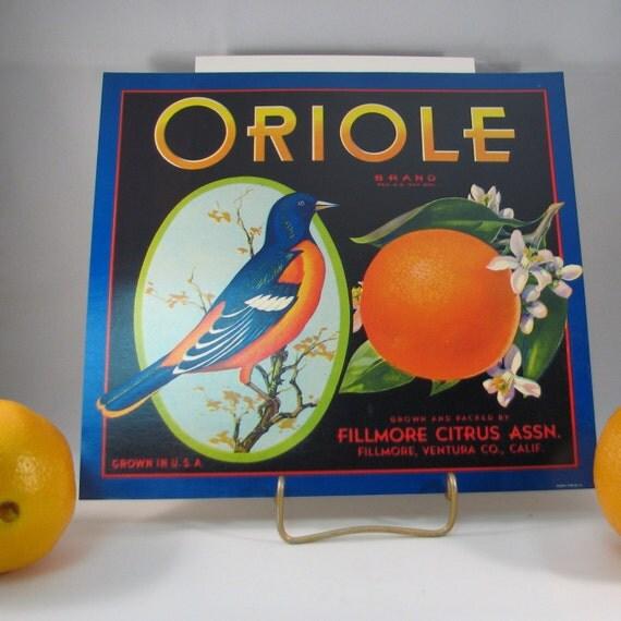Vintage 1970s Oriole Brand Orange Fruit Crate Label Lithograph