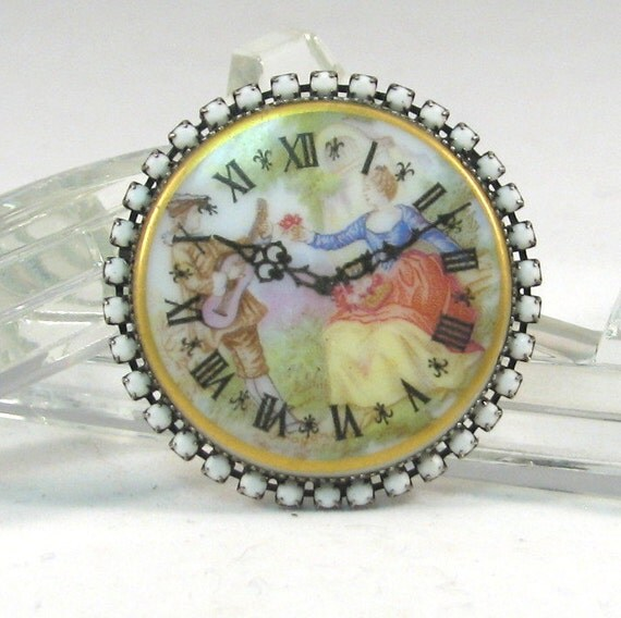 RESERVED for RYTURRISMITH - Porcelain Cameo Clock Face Brooch with Chalk White Rhinestones
