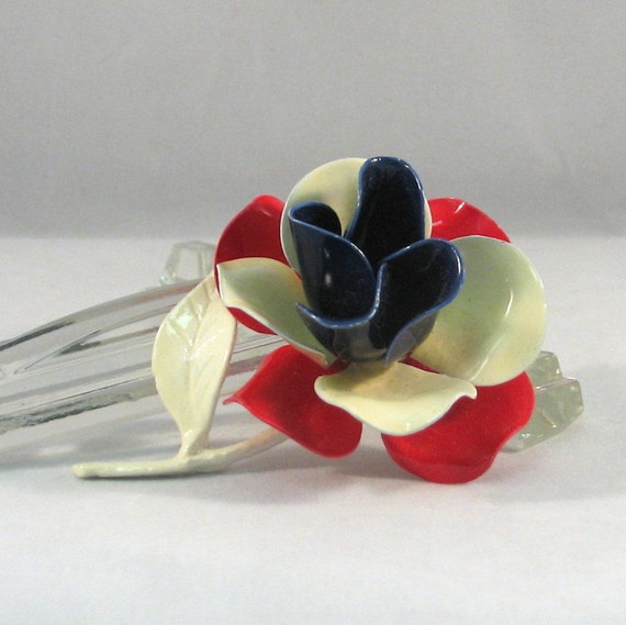 Vintage 1970s Red, White and Blue Enameled Flower Brooch
