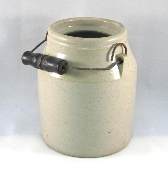 Antique Primitive Stoneware Small Crock with Handle