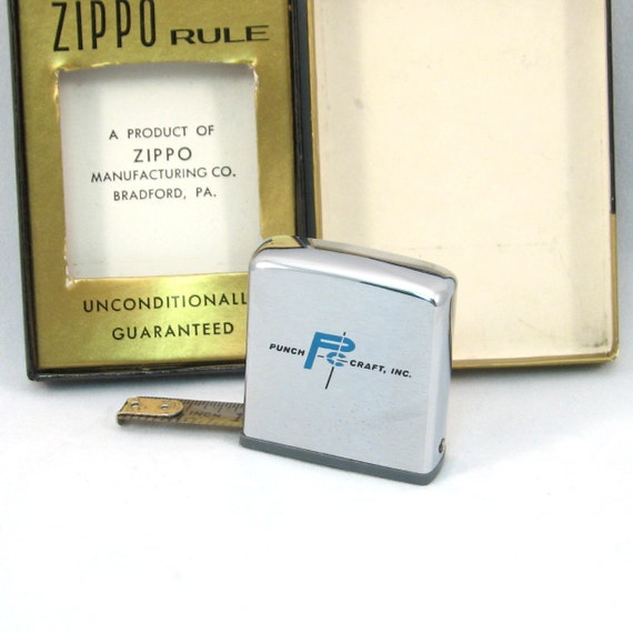 RESERVED FOR PEZZLE1 Vintage Zippo Rule Advertising Measuring Tape - Punch Craft Inc