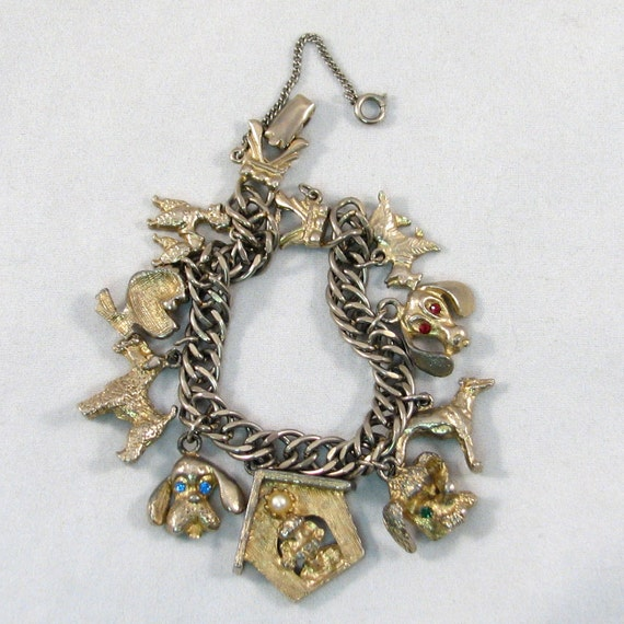 Vintage 1950s Gone To The Dogs Charm Bracelet