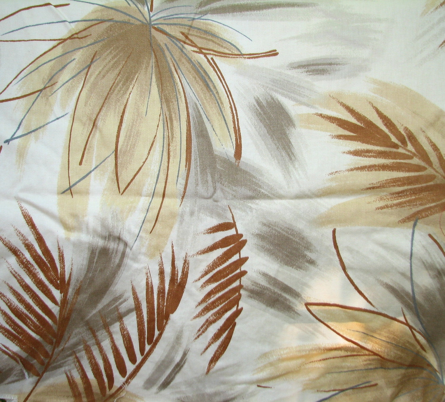 Palm Tree Tropical Pattern Vintage 1980s Fabric Shabby Chic