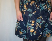 Navy Floral Skirt with Ballon Pockets Cotton