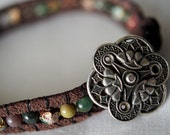 Reserved Suede and Stone, Pewter Wrap Bracelet with Button Closure