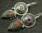Sunrise Talisman Earrings- sterling silver artisan crafted with jasper and garnet
