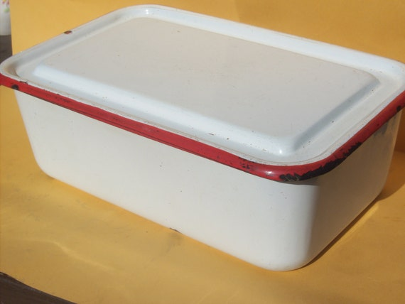 Vintage White Farm Large Enamelware Box