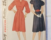 Vintage women's 1940s Simplicity 1811 Dress Sewing Pattern Sz 13
