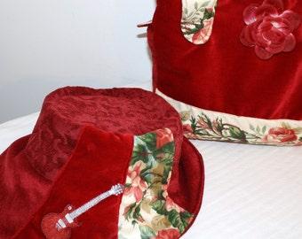 Messenger bag and matching  hat - Made from Vintage  fine Velvet.