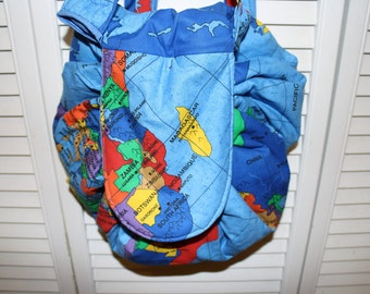 Hand Crafted  Around the World Backpack Hobo Bag- Messenger back -Back to School Sale.