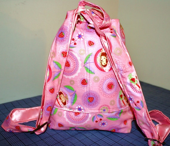 Hand Crafted And Designed By Maggie  Strawberry Shortcake Backpack-SALE-plenty of room -Christmas Sale.