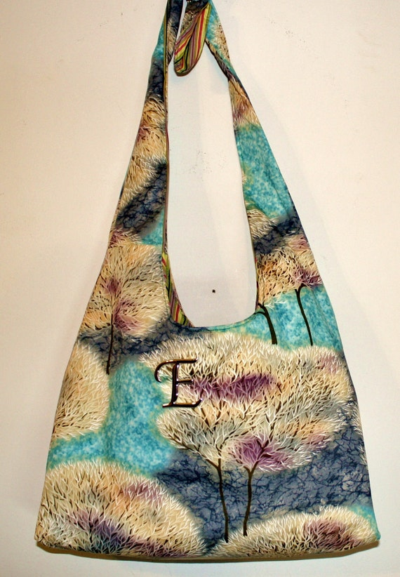 Beauitful Hand Crafted Teal Blue and Green Earth Colors with Trees- Messenger Crossbody bag with matching make up bag..