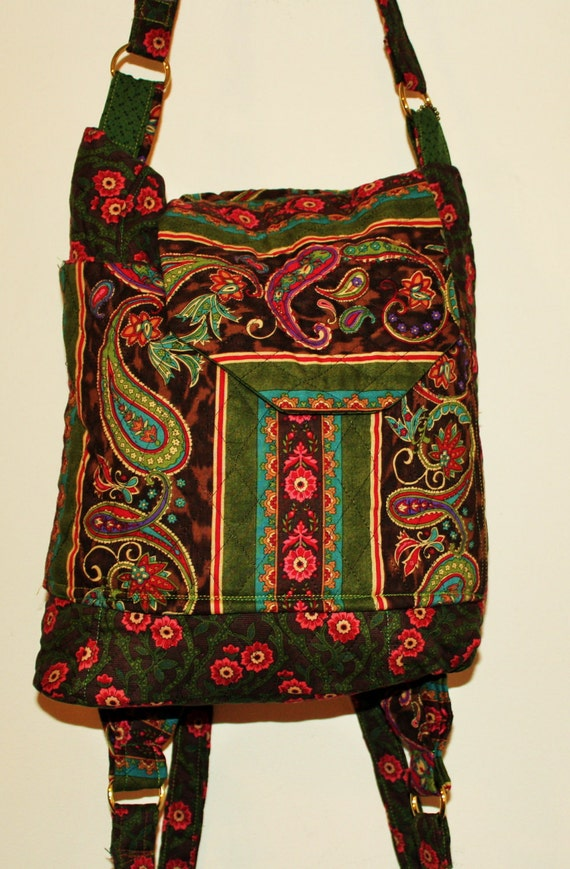 Beauiful  Hand Crafted and  Quilted Backpack By Maggie Back Pack.or Shoulder Purse-New Years Sale.