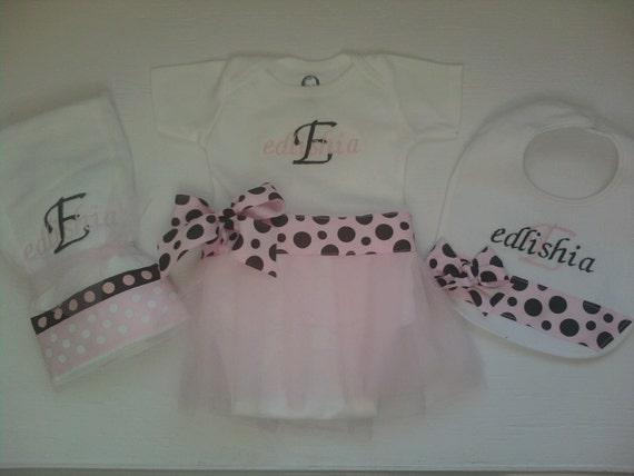 Tutu Onesie Dress, Bib and Burp Cloth Set \/ Monogrammed Baby Girl Gifts