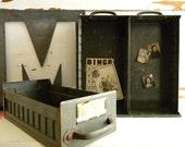vintage ARMY green metal drawer