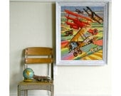 sale large vintage crewel WWI planes WALL hanging
