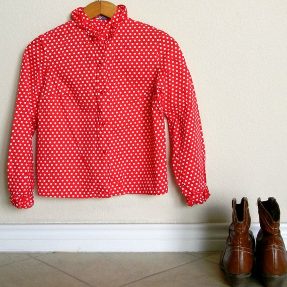 vintage red polka dot shirt