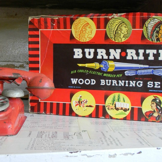 vintage burn rite wood burning set
