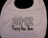 2012 Happy New Year Embroidered Bib