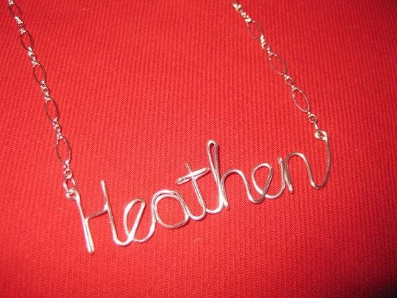 Silver Heathen Necklace // Silver Word Necklace // Wire Word Necklace // Christmas Necklace