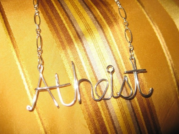 Atheist Necklace // Silver Wire Word // Silver Word Necklace // Christmas Necklace
