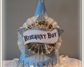 vintage inspired old fashioned birthday party hat in blue