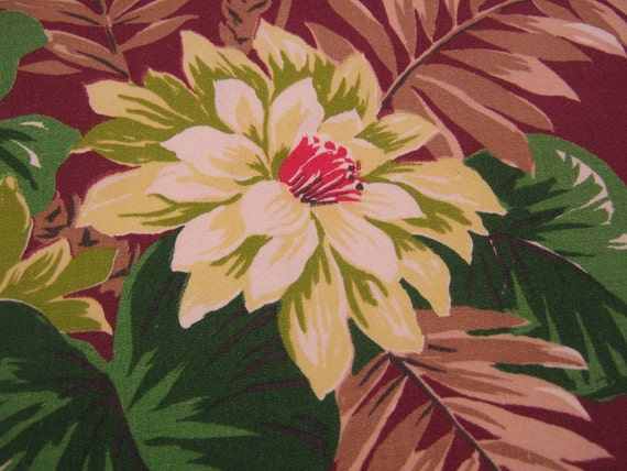 Vintage Fabric Antique Bark Cloth Drapery Panel Botanical Floral Burgundy