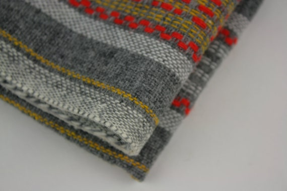 Vintage Fabric 1970s Tweed Woven Gray Red White Yellow TWO YARDS