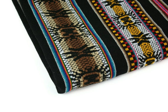 Vintage Fabric Ethnic Woven Black Multicolored Geometric Wool Blend
