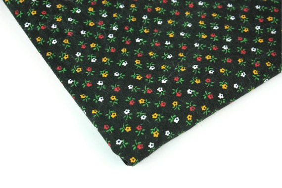 Vintage Fabric Cotton Black Calico