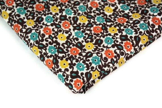 Vintage Fabric Decorator Cotton Floral Brown Aqua Yellow Orange