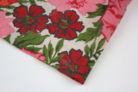 Vintage Fabric Curtain Panel Cotton Floral Red Pink Green RESERVED For Stephanie