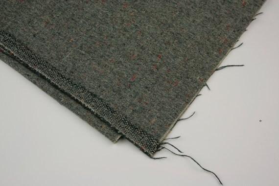 Vintage Fabric Wool Teal Suiting Orange Specks