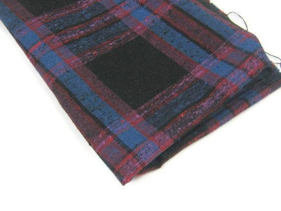 Vintage Fabric Cotton Decorator Plaid Black Red Plum Blue