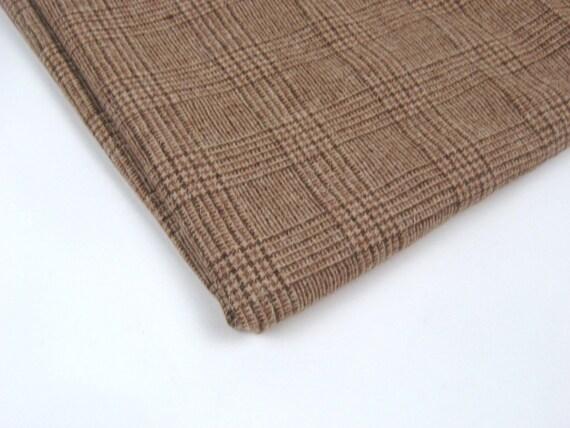 Vintage Fabric Wool Glen Plaid Beige Brown TWO YARDS