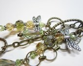 DRAGONFLY Purse Charm Zipper pull key chain antiqued brass chain rustic