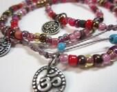 Cotton Cord Beaded Friendship Bracelet, OM Charm, Spirit Zen Yoga Jewelry, Boho Bohemian, Hippie Hippy, Vegan
