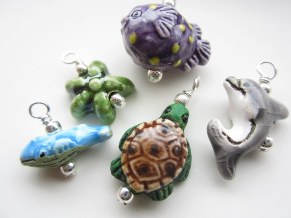 BEACH FRIENDS hand painted peruvian ceramic beads charms dolphin sea turtle blowfish starfish whale