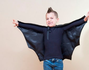 Handmade Child Cape Bat  Costume Scary Halloween Photo Prop Black Brown White or Pink Children Kids