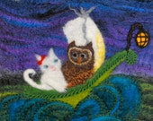 The Owl and The Pussycat...A Needle Felted Picture-FREE Worldwide Shipping