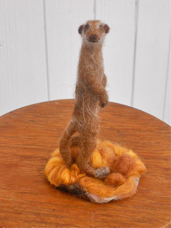 Augustus The Meerkat...A Needle Felted Sculpture...FREE Worldwide Shipping