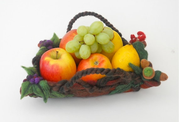 SALE Autumn Acorns and Berries...a Trug Basket Bowl Container...Needle Felted Home Decor...FREE Worldwide Shipping